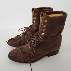 Leather Laredo lace up vintage, combat style boots